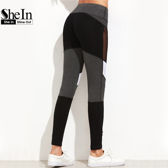 Women Fitness Leggings Color Block Autumn Winter Workout Pants
