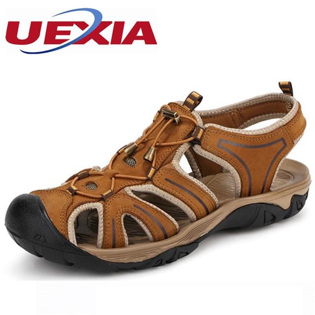 70a0eb76e81f43 2017 Summer Fashion Men Sandals Split Leather Mens Dress Sandals Breathable  Men s Beach Shoes Handmade Soft Casual Zapatillas