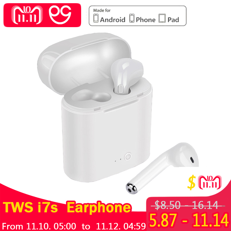 Mini I7S Bluetooth Earphones TWS wireless headphones Air pods In Ear Earbuds sport headset stereo For apple iPhone xiaomi mini tws v5 0 bluetooth earphone port wireless earbuds stereo in ear bluetooth waterproof wireless ear buds headset yz209