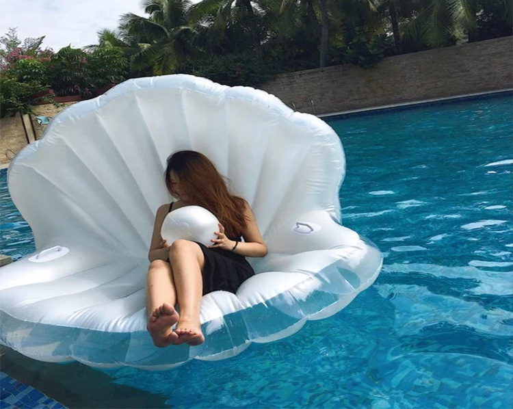 1 Giant Pearl Ball Pool Float Shells Inflatable Water Floating Row Scallop Aqua Loungers Floating Air Mattress Donuts Swim Ring giant pool float shells inflatable in water floating row pearl ball scallop aqua loungers floating air mattress donuts swim ring