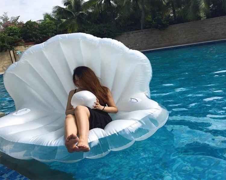 1 géant Perle Balle Piscine Flotteur Coquilles Gonflable de L'eau Flottant Rangée Pétoncles Aqua Chaises Longues Flottant Matelas D'air Beignets Anneau De Bain