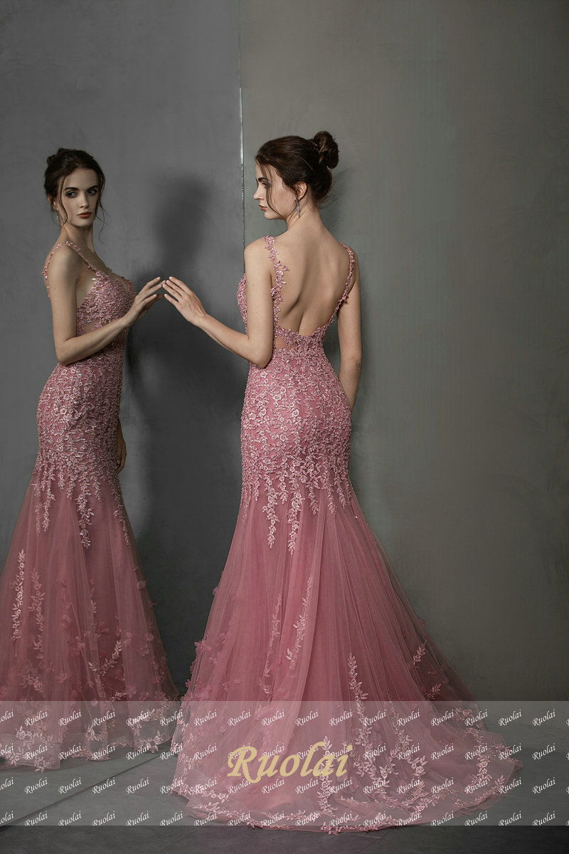 2019 Newest Appliques Evening Dress Pink Spaghetti Strap Mermaid Dresses for Women Detachable Train Prom Gown for Party in Evening Dresses from Weddings Events