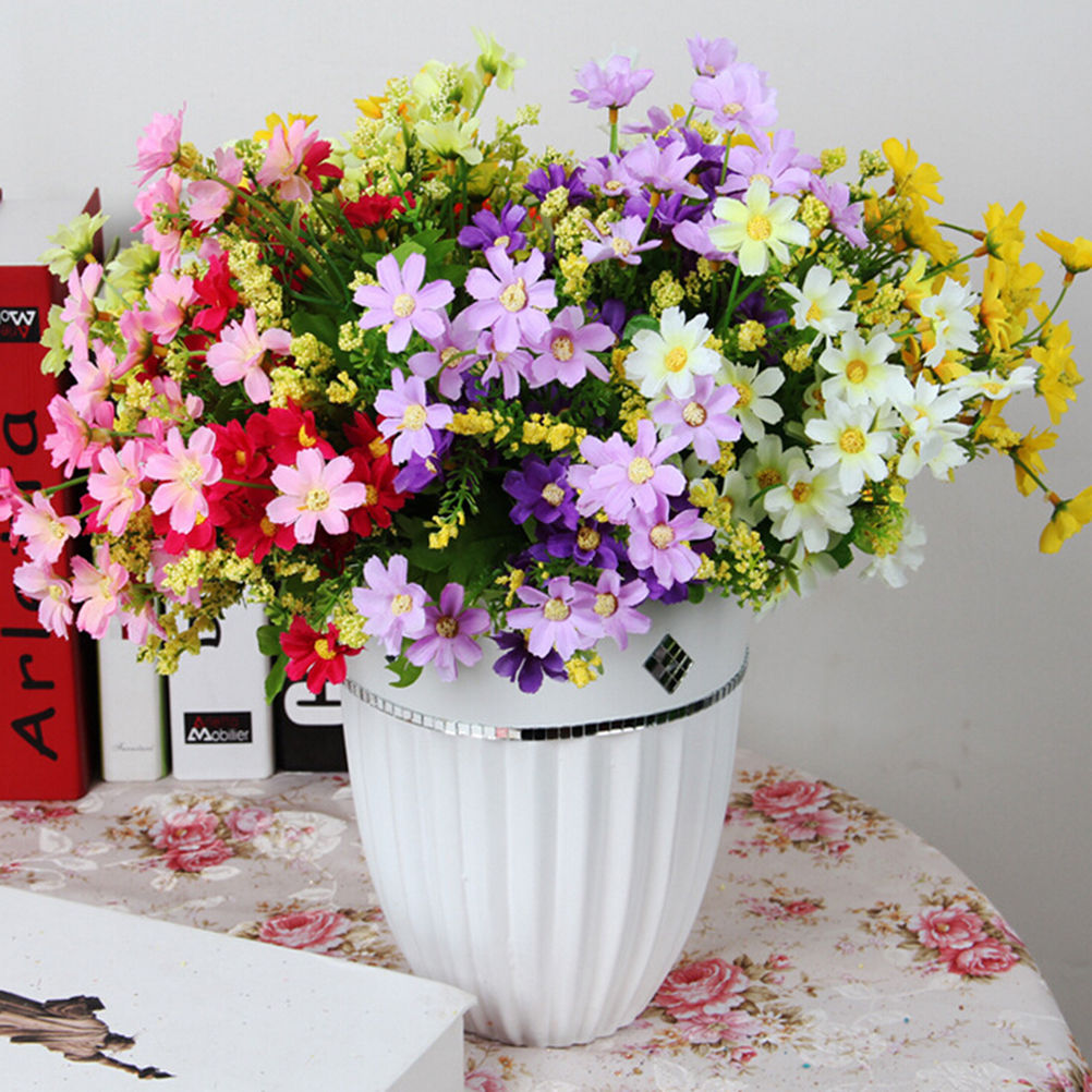28 Heads Fake Daisy Cheap Real Touch Flower Plants Grass Without