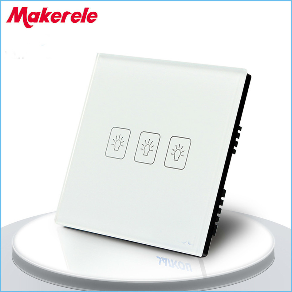 Touch Switch White Crystal Glass panel UK Standard 3 Gang 1 Way Touch Screen wall switch wall socket for lamp touch switch 3 gang 2 way uk standard gold touch screen wall switch wall socket for lamp