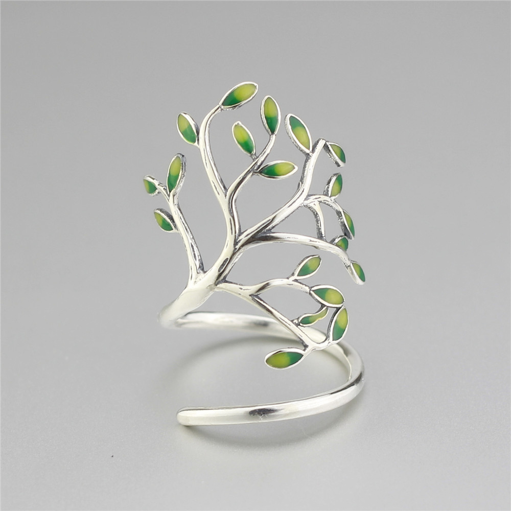 Hot 925 Sterling Silver Drop Glaze Leaves Open Rings For Women Original Handmade Lady Prevent Allergy Sterling-silver-jewelry