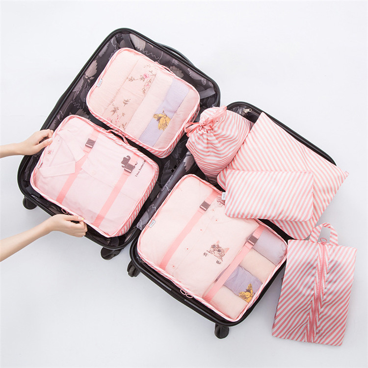 3pcs Cartoon Travel Storage Bags Zipper Waterproof Organizer Pouch Clothes Shoes