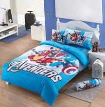 The Avengers bedding sets single twin size comforter duvet covers bedspreads cotton Children's boy's bedroom decor 3-5pc blue