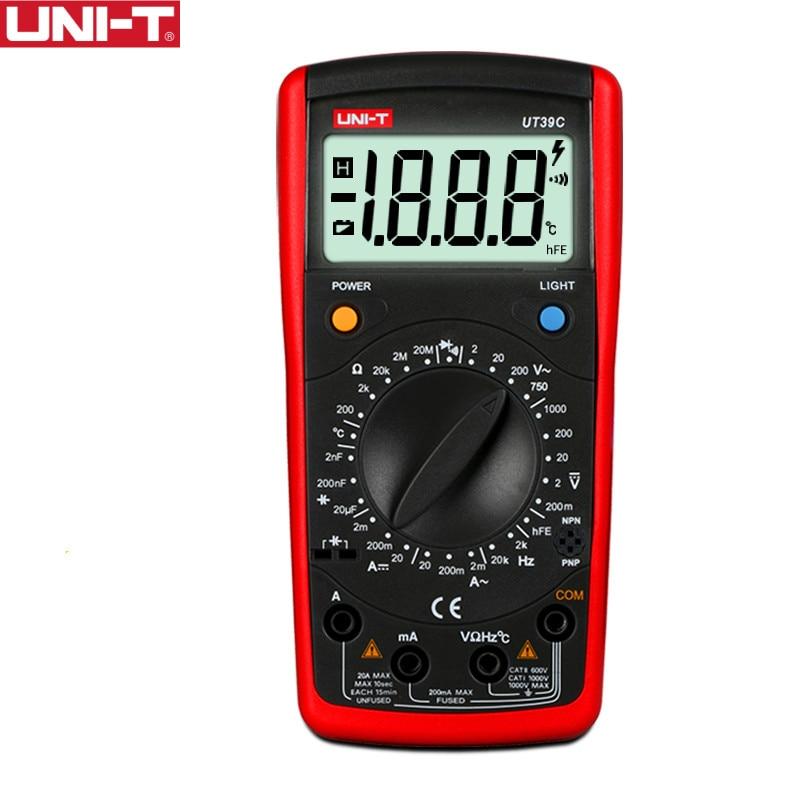UNI-T UT39C Moderne Multimètres Numériques AC 1000 v 1999 Compter Courant Ohm Cap Testeur Data Hold Diode Transistor Test