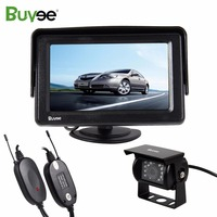 Buyee Wireless 18 IR LED Waterproof Car Rear view reverse auto Camera with 4.3 inch TFT LCD car parking Monitor for Truck RV BUS