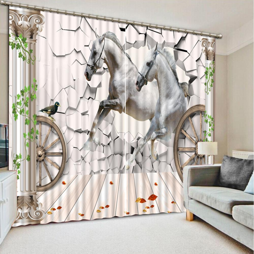 customize White horse wall jacquard blackout curtains Living room bedroom nordic 3D curtaincustomize White horse wall jacquard blackout curtains Living room bedroom nordic 3D curtain