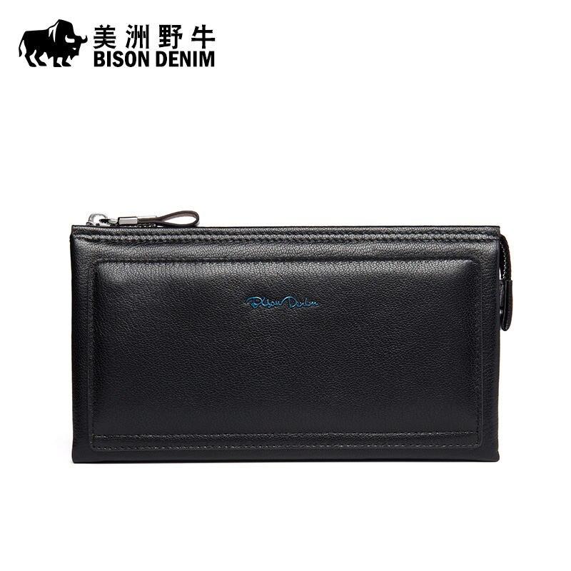 BISON DENIM New Men Business Large Capacity Genuine Leather Clutch Bag Handbag Brand Men's Envelope Bag Cowhide Wallet Free Ship
