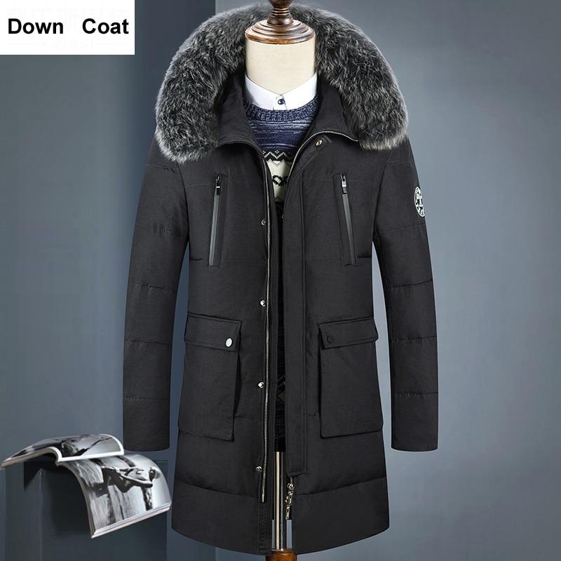 2017 New Casual Thicken Warm Multi Colors Parkas Winter Jackets Men Long Big Natural Fur Collar Mens Down Coats