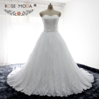 Rose Moda Delicate Pearl Beaded Lace Wedding Ball Gown Lace Up Back Wide Lace Hem Wedding Dresses Custom Made