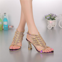 8cm Crystal Rhinestones Female High Heels Sandals Thick With Hollow Diamond Bohemian Shoes Woman Comfortable