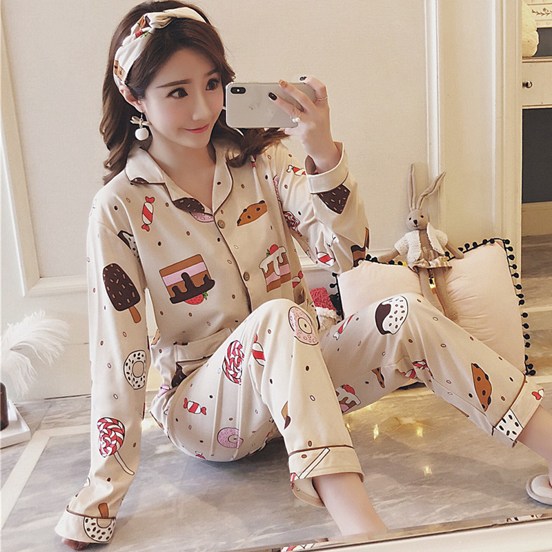 Pajamas For Women Autumn Long sleeves Cotton Sleepwea Women