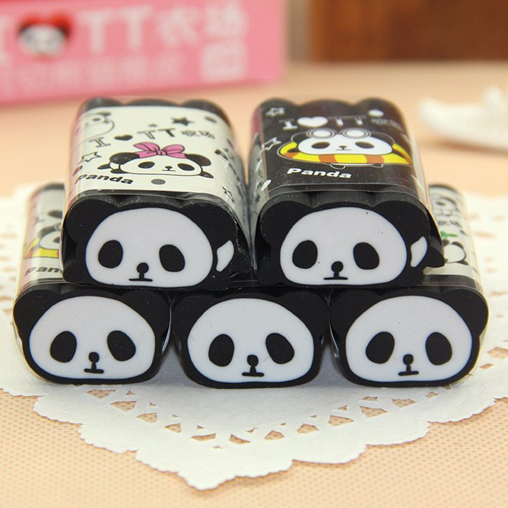 Animal Panda Eraser For School Kids , Can Be Cut Into Pieces , Cuttable Pencil Eraser School Office Supply Correction Supply