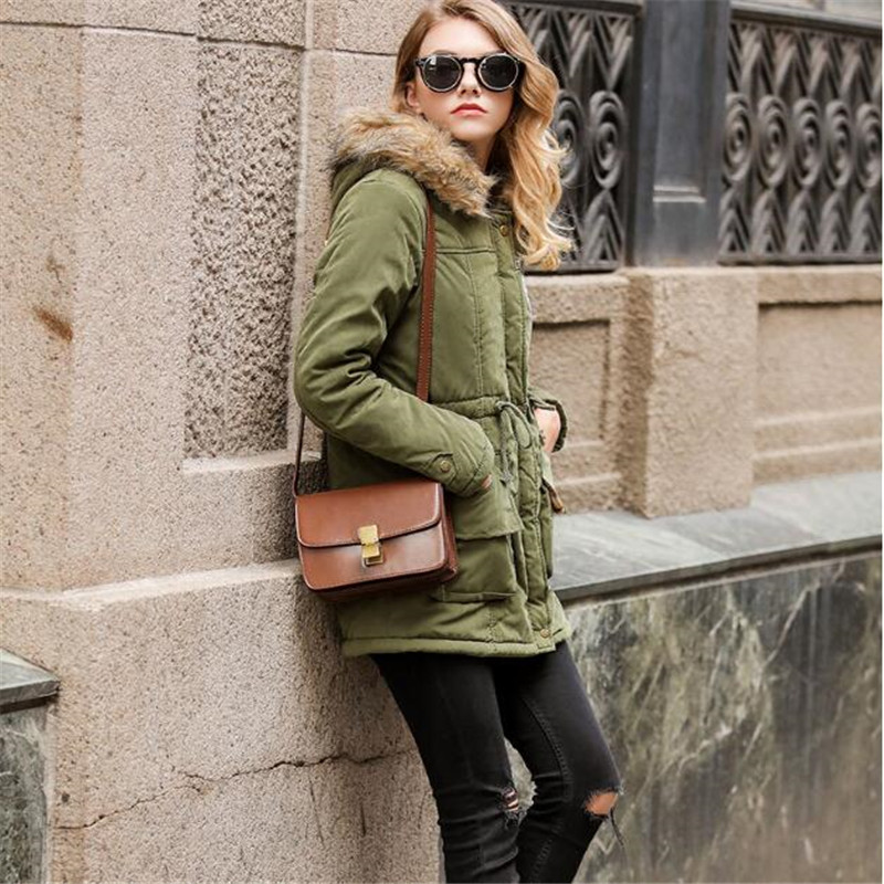 New Winter Jacket Women Wadded Jacket Female Outerwear Slim Winter Hooded Coat Long Cotton Padded Fur Collar   Parkas   Plus Size