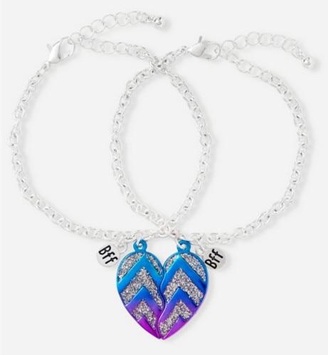 Glitter Chevron Bff Heart Bracelets Fashion Best Friend Friendship Bracelet For S Set Of 2 In Chain Link From Jewelry