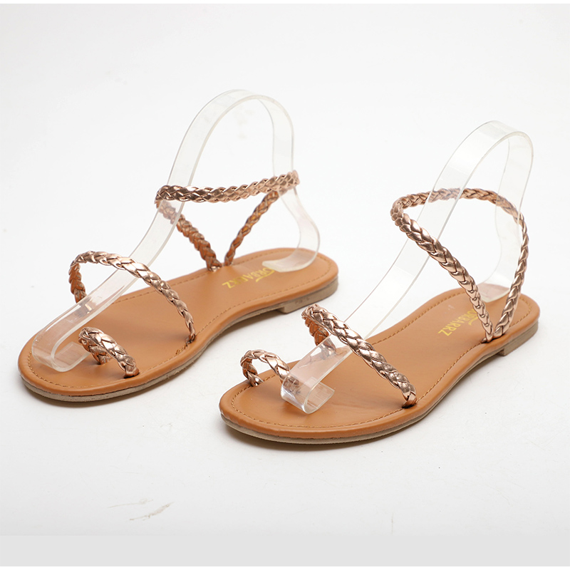 HTB1AgwJMCzqK1RjSZFHq6z3CpXas MCCKLE Plus Size Thong Sandals Summer Women Flip Flops Weaving Casual Beach Flat With Shoes Rome Style Female Sandal Low Heels
