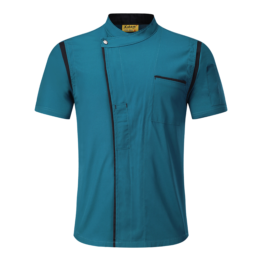 Unisex Short Sleeve Mesh Patchwork Breathable Casual Food Service Coffee Shop Waiter Work Wear Chef Jackets Tops Uniforms Aprons in Chef Jackets from Novelty Special Use