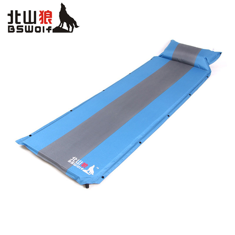 ФОТО BSWolf 2017 New Outdoor Automatic inflatable pad Camping Mat Pad Moistureproof Pad Bed with Pillow Single Person Foldable