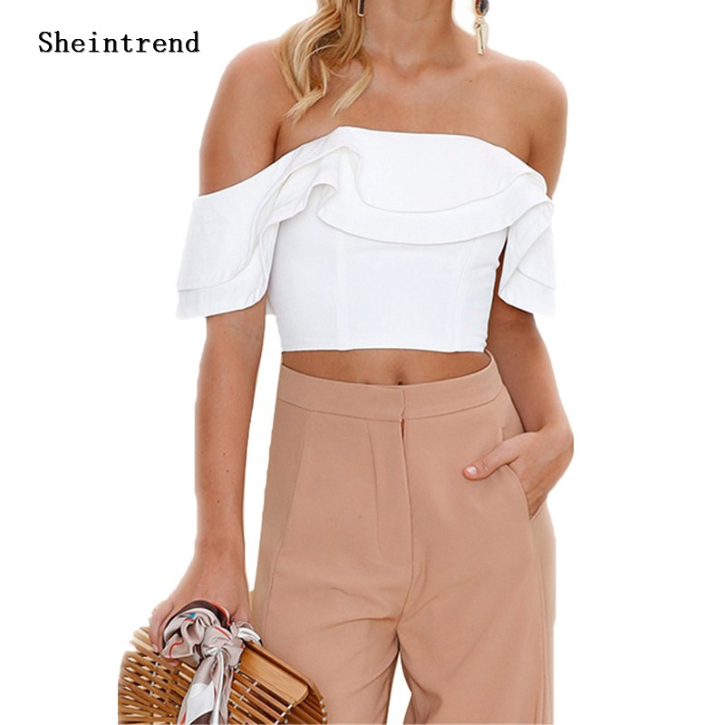 Sheintrend Sexy Off Shoulder Womens Tops And Blouses Ruffles Backless White Red Women Blouses 2018 Summer Blouse Women Crop Top
