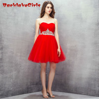 Angel Tree Cheap Brilliant Red Short Evening Dress Crystal Sash Organza Lace Up Sweetheart Customized Porm