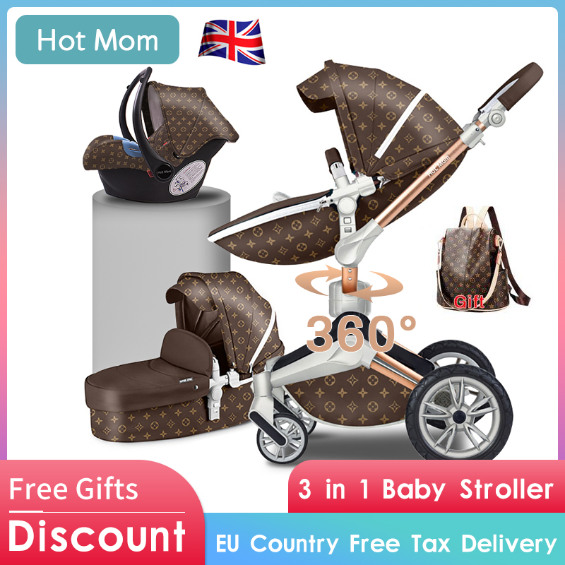 Free Shipping Hot Mom Luxury Baby Stroller 3 In 1 360 Degree High Landscape Baby Carriage 2 In 1 Light Folding Baby Pram