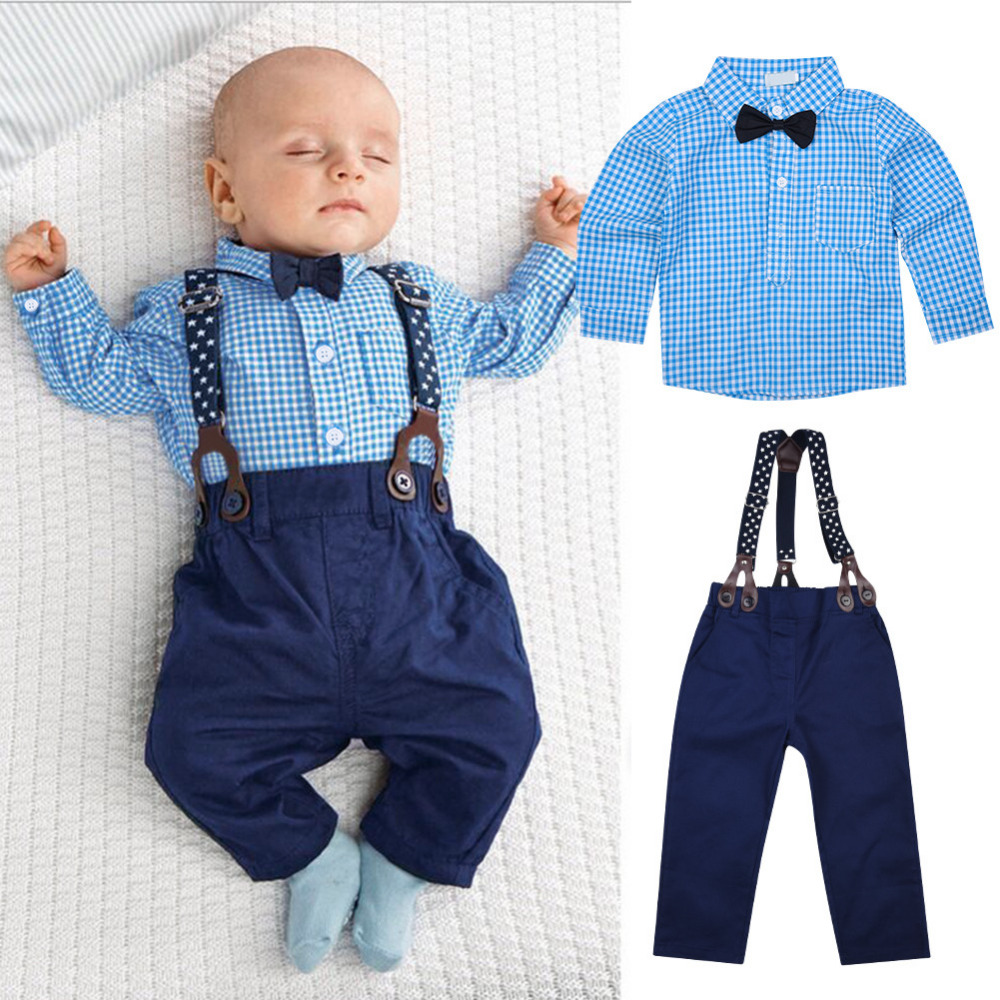 2 PCS Kids Boys Gentlemanlike Clothing Sets Baby Long sleeved Shirt and Long Pants Clothes Suit