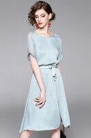 2017 новые модные женские элегантные шелковые платья Короткие рукава длиной до колен дамы высокого качества официальное мероприятие одежда