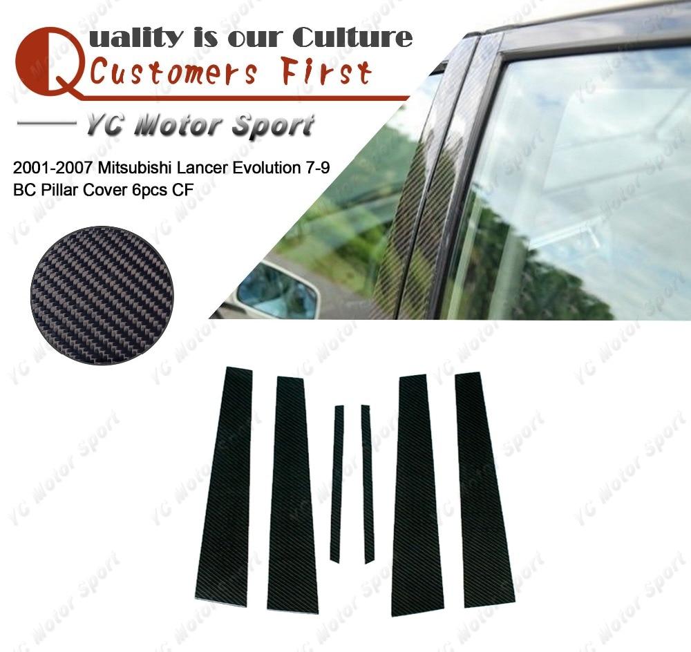 Car Accessories Carbon Fiber Pillar Cover 6pcs Fit For 2001 2007 Lancer Evolution 7 9 EVO 7 8 9 BC Pillar Cover
