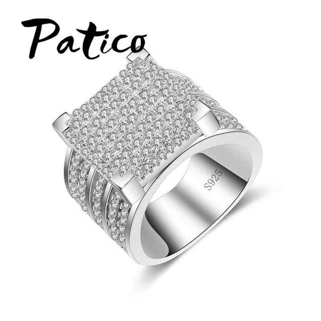 Patico Fashion 925 Sterling Silver Wedding Rings For Women Luxury Clear Cubic Zirconia Square Shape Men