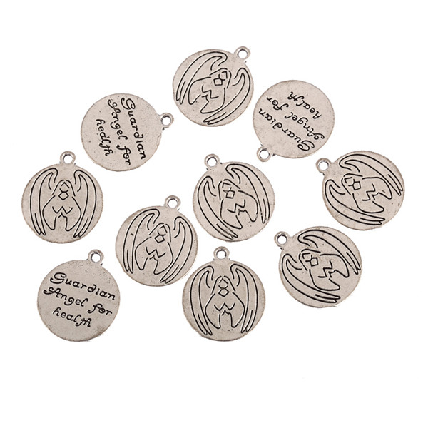 Fashion Plated Tibetan Silver guardian angel wings for health charms Pendants For Necklace DIY Jewelry making 18x18mm 20pcs
