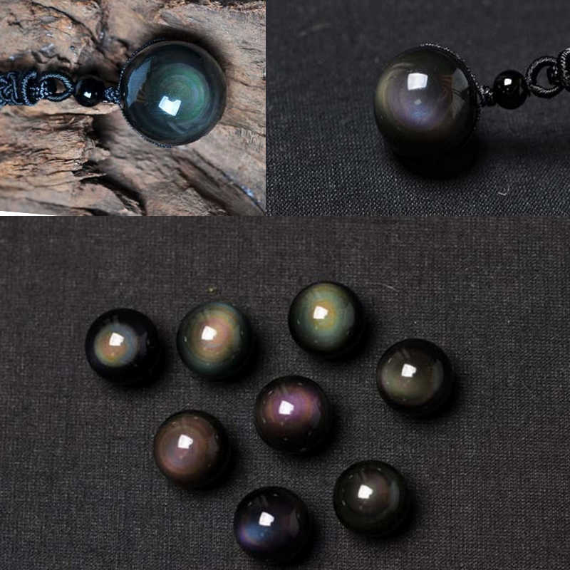 天然 5AAA + 黒黒曜石の石ペンダントネックレス虹の目ビーズボール転送幸運愛の結晶の宝石ネックレス