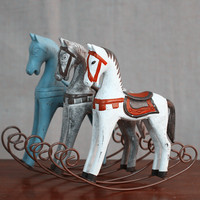 Creatieve Retro Houten Ambachten Boekenkast Decoratie Leuke Dieren Paard Speelgoed Film 'S Props Gift Ornamenten