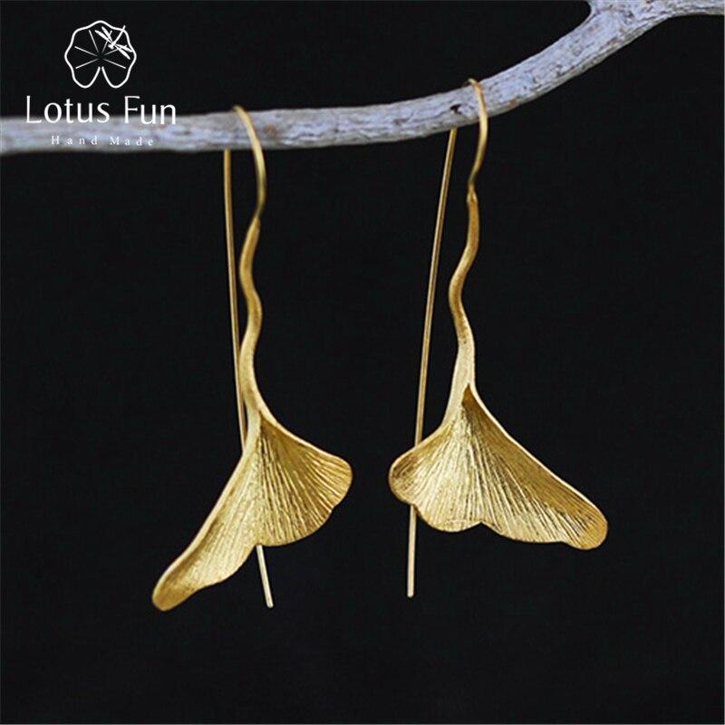 Lotus весело Настоящее стерлингового серебра 925 природных ручной работы дизайнера Ювелирные украшения Винтаж листьев гинкго Висячие серьги для Для женщин brincos