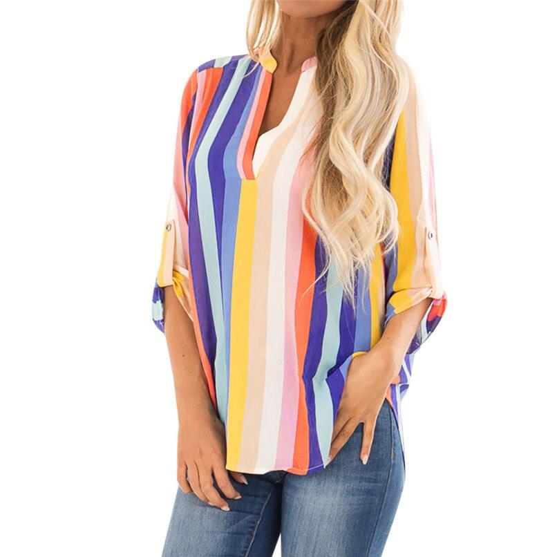 666fd65e6b V Neck Multicolor Striped Tee Women Long Sleeve Casual Top 2018 ...