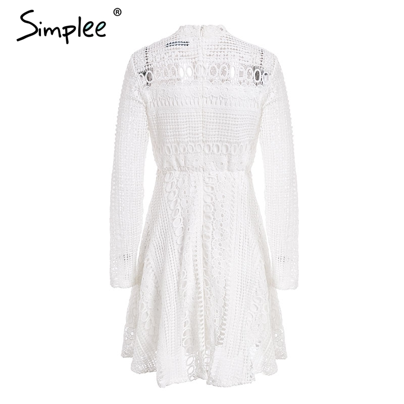 847dfd8b1f34a Simplee Lace water soluble sexy dress Elegant long sleeve hollow out women  dress 2018 Autumn winter party dress robe femme | Barraca do Joel