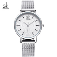 KIMIO Business Silver Mesh Band Women Watch Waterproof Ladies Quartz Wristwatches Simple Wave Dial Design Relogio
