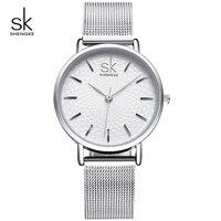 KIMIO Business Silver Mesh Band Women Watch Waterproof Ladies Quartz Wristwatches Simple Wave Dial Design Relogio