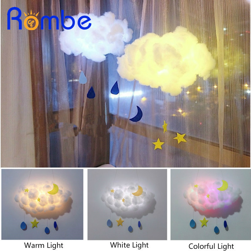 Rombe DIY Handmade Cloud Star Moon LED 3D Light Night Glow In The Dark Art Craft Toy For Kid Girls Birthday Gift Bedroom Decor