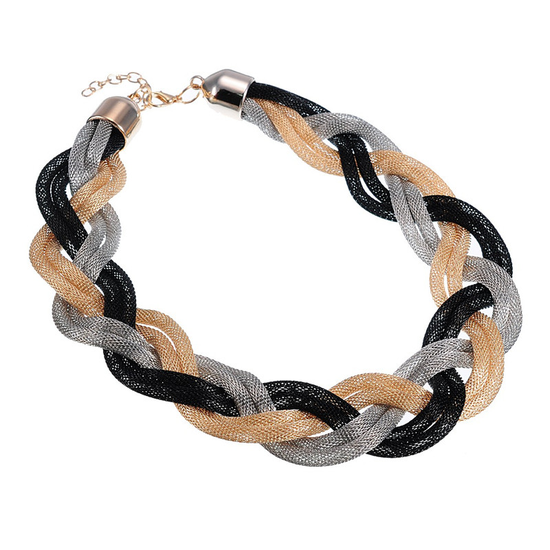 Vintage Lady New Style Jewelry Gold & Silver C Net Knit Chain Choker Chunky Statement Twisted Cable Braided Chain Necklace