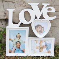 DIY Sweet Love Wooden Photo Frame Wooden Wedding Couple Pictures Frames Mini Family Photo Frame Home