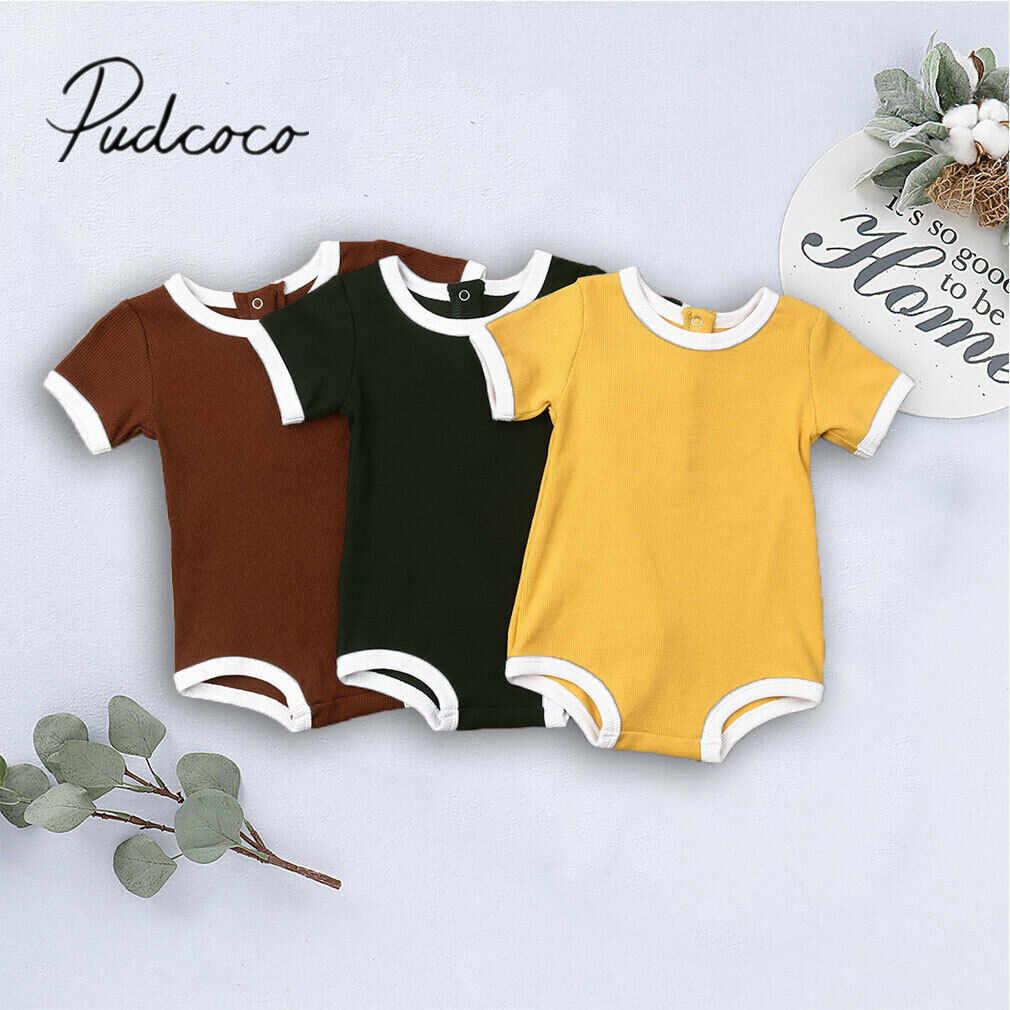 2019 Baby Summer Clothing 0-3Y Newborn Infant Baby Boy Girl Kid Bodysuit Knitting Pit Solid Jumpsuits Outfit Sunsuit Clothes