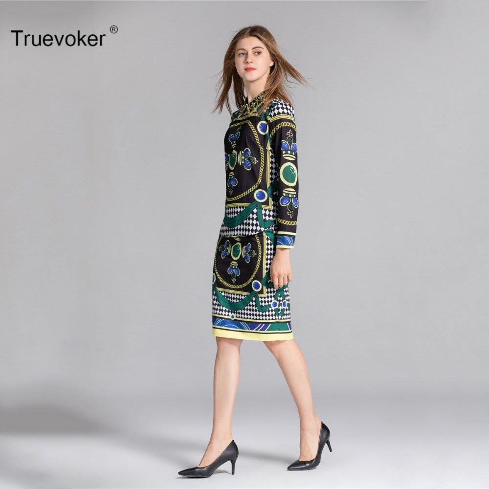 Truevoker Autumn Designer Set Suit Women s Long Sleeve Peter Pan Collar  Vintage Printed Rivet Diamond Blouse + Pencil Skirt-in Women s Sets from  Women s ... 6480311a569c
