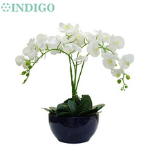 INDIGO- Orchids Flower Arrangment (4pcs flower+3pcs leaf) Real Touch Table Wedding Party Flower Decorative Event Free Shipping