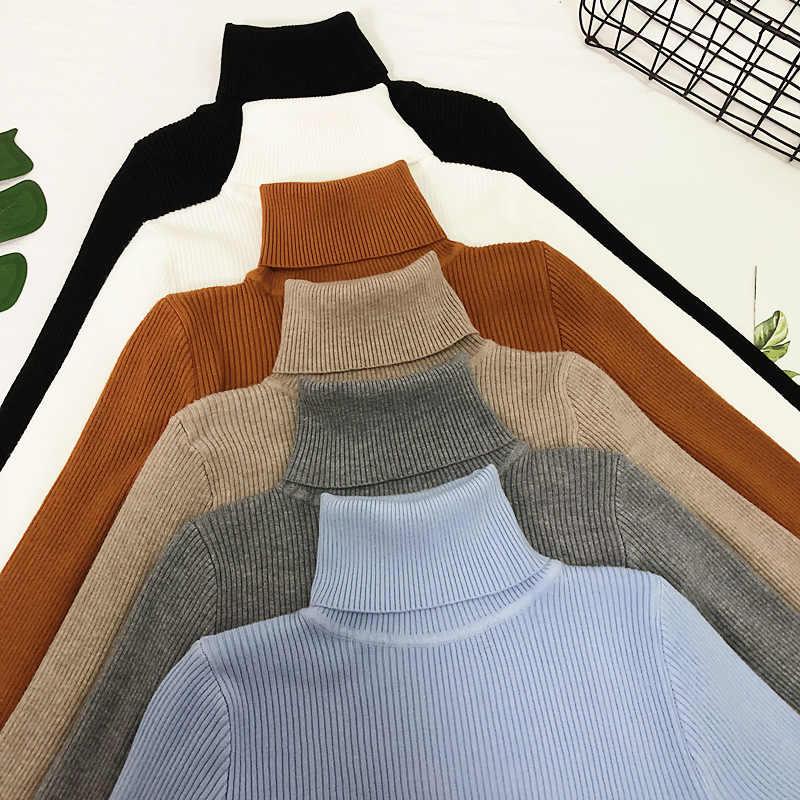 レディースセーター 2019 冬タートルネックセーター女性薄型プルオーバージャンパーニットセータープルファム-Truien 婦人新しい
