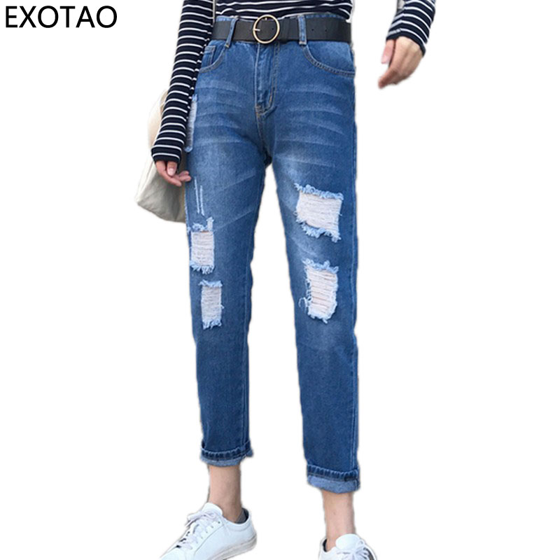 EXOTAO Ripped Jeans Women Hole Pockets Denim Ladies Trousers Mid Waist Zipper Casual Vaqueros Mujer Fashion 2017 Autumn Jeans fashion brand women jeans high waisted denim jeans ripped trousers washed vintage big hole ankle length skinny vaqueros mujer