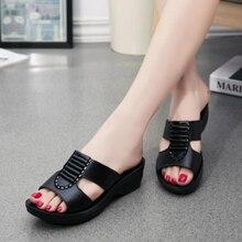 Nova mãe verão sandálias moda senhoras macio e confortável sapatos casuais grande tamanho mulher inclinação com chinelos w04