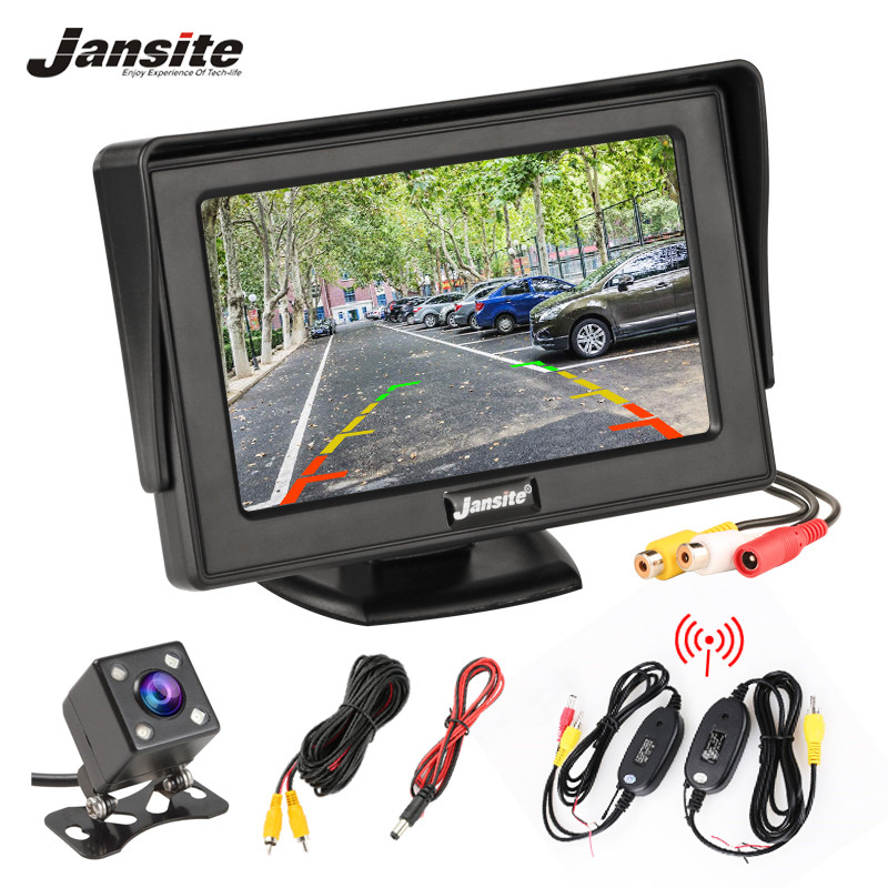 Jansite 4.3 Inch TFT LCD Car Monitor Display Wireless Cameras Reverse Camera Parking System for Car Rearview Monitors NTSC PAL(China)